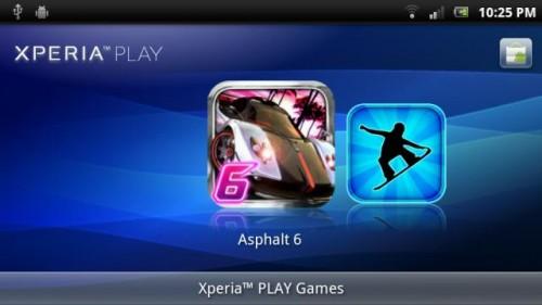 Menu gier z Xperii Play na Xperii X10
